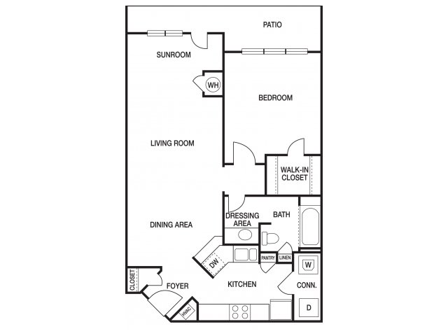 One bedroom one bathroom A31 floorplan at The Prato at Midtown Apartments in Atlanta, GA