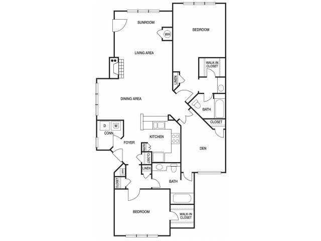 Two bedroom two bathroom B8 floorplan at The Prato at Midtown Apartments in Atlanta, GA