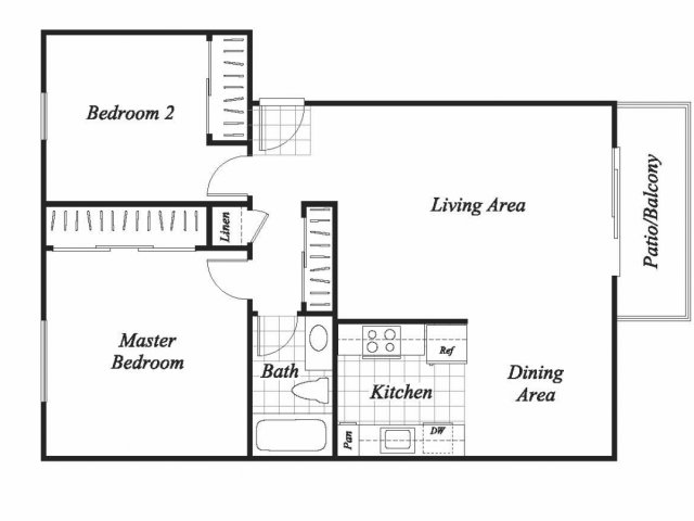 Two bedroom one bathroom B1 floor plan at Baycliff Apartments in Richmond, CA