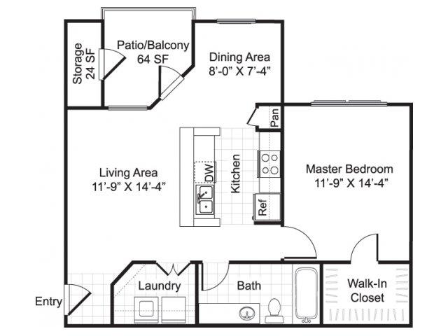 One bedroom one bathroom A2 Floorplan at Sereno Park Apartments in San Antonio, TX