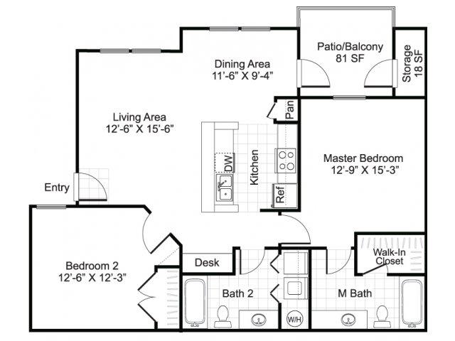 Two bedroom two bathroom B2 Floorplan at Sereno Park Apartments in San Antonio, TX