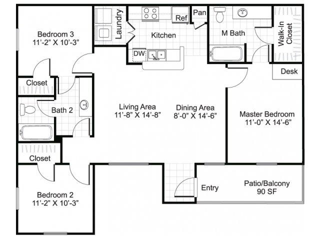 Three bedroom two bathroom C1 Floorplan at Sereno Park Apartments in San Antonio, TX