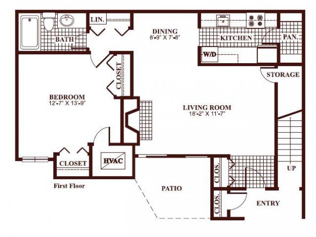 One bedroom one bathroom A1 Floorplan at Ramblewood Village Apartments in Mount Laurel, NJ