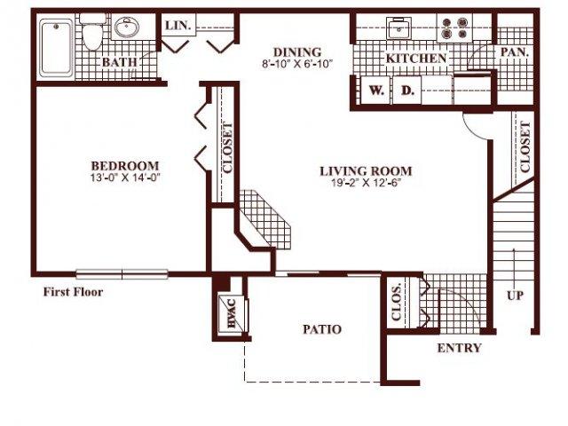 One bedroom one bathroom A2 Floorplan at Ramblewood Village Apartments in Mount Laurel, NJ