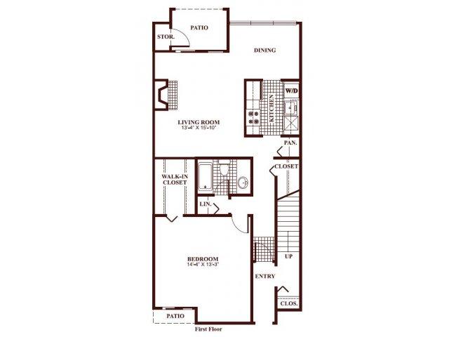 One bedroom one bathroom A3 Floorplan at Ramblewood Village Apartments in Mount Laurel, NJ