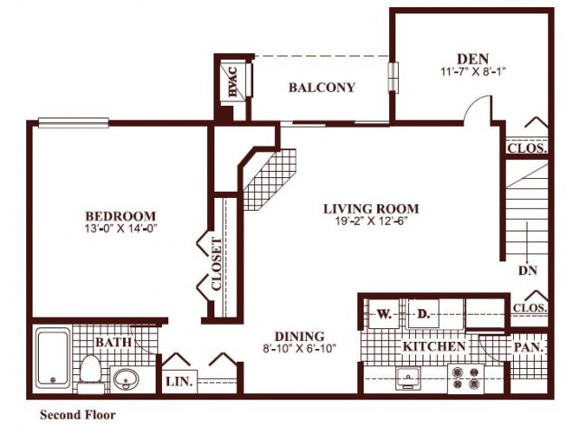 One bedroom one bathroom A4 Floorplan at Ramblewood Village Apartments in Mount Laurel, NJ