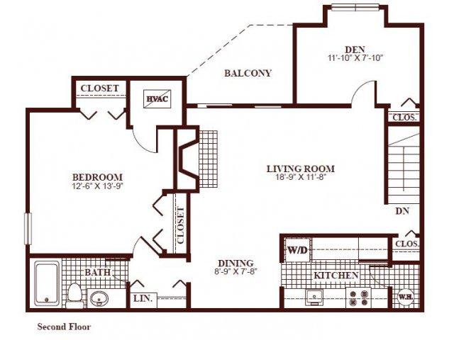One bedroom one bathroom A5 Floorplan at Ramblewood Village Apartments in Mount Laurel, NJ