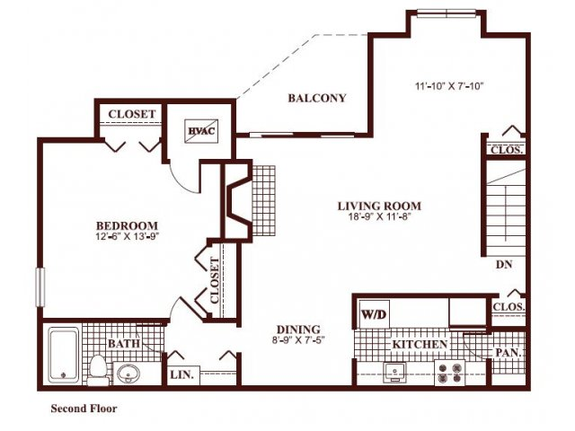 One bedroom one bathroom A6 Floorplan at Ramblewood Village Apartments in Mount Laurel, NJ