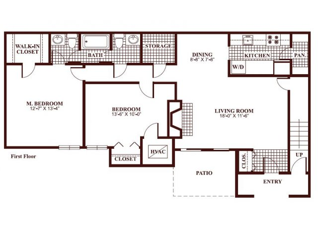 Two bedroom one and a half bathroom B2 Floorplan at Ramblewood Village Apartments in Mount Laurel, NJ
