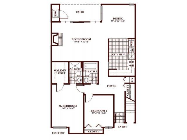 Two bedroom two bathroom B3 Floorplan at Ramblewood Village Apartments in Mount Laurel, NJ
