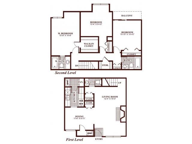 Three bedroom two and a half bathroom C1-Townhome Floorplan at Ramblewood Village Apartments in Mount Laurel, NJ