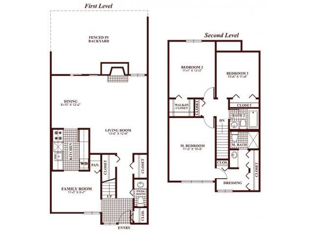 Three bedroom two and a half bathroom C2-Townhome Floorplan at Ramblewood Village Apartments in Mount Laurel, NJ