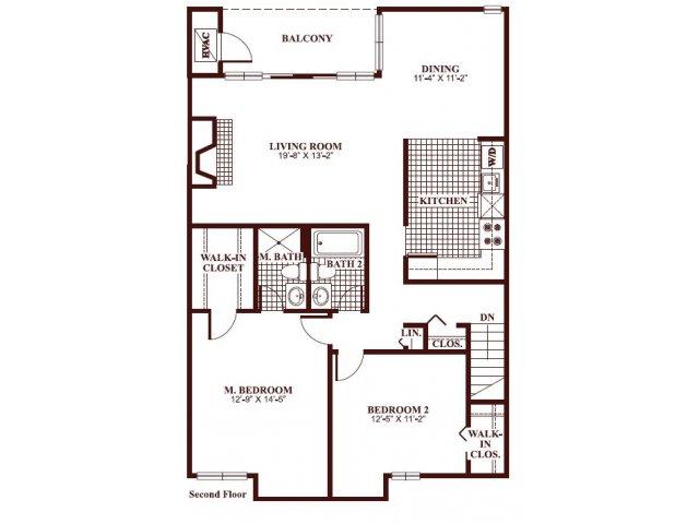 Two bedroom two bathroom B4 Floorplan at Ramblewood Village Apartments in Mount Laurel, NJ