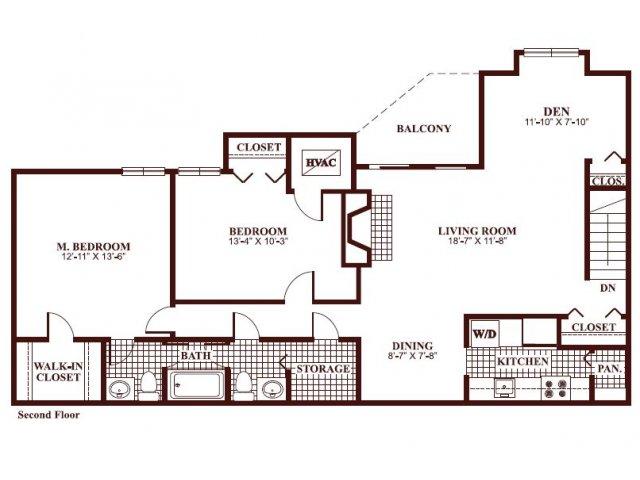 Two bedroom one and a half bathroom B5 Floorplan at Ramblewood Village Apartments in Mount Laurel, NJ