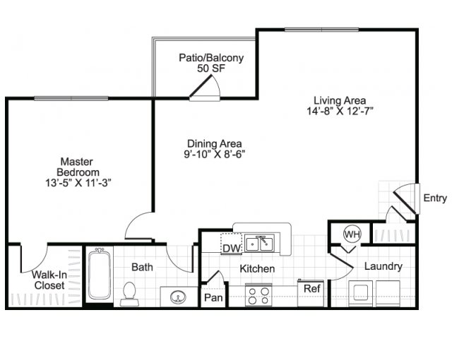 One bedroom one bathroom A1 floor plan at Brisa at Shadowlake Apartments in Houston, TX