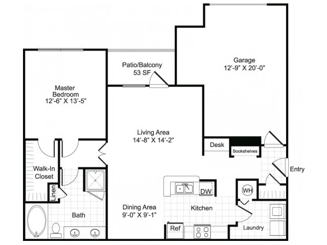 One bedroom one bathroom A2 floor plan at Brisa at Shadowlake Apartments in Houston, TX