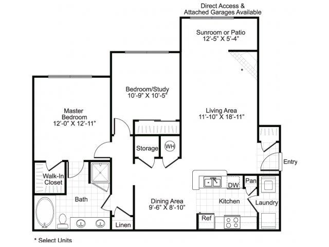 Two bedroom one bathroom B1 floor plan at Brisa at Shadowlake Apartments in Houston, TX