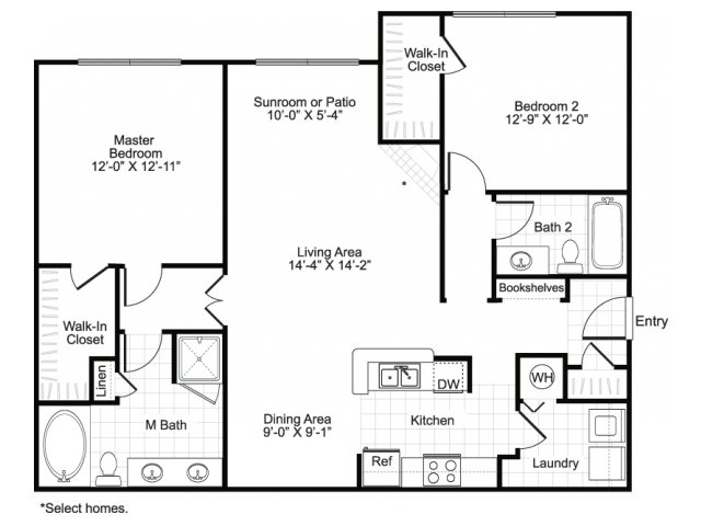 Two bedroom two bathroom B3 floor plan at Brisa at Shadowlake Apartments in Houston, TX