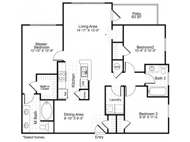Three bedroom two bathroom C1 floor plan at Brisa at Shadowlake Apartments in Houston, TX