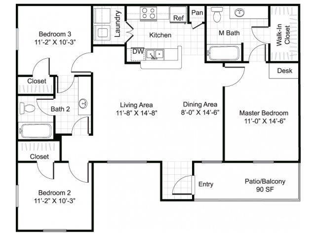 3 bedroom 2 bathroom apartment C1 floor plan at Brynwood Apartments in San Antonio, TX