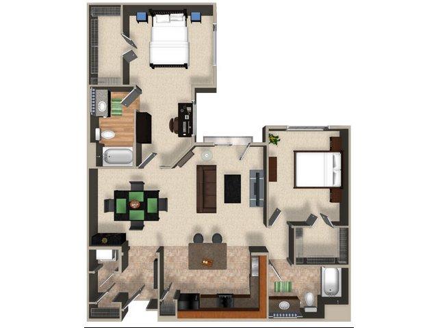 Two bedroom two bathroom B4 Floorplan at Sanctuary Apartments in Renton, WA