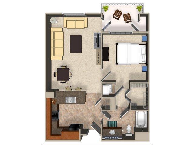 One bedroom one bathroom A3 Floorplan at Sanctuary Apartments in Renton, WA