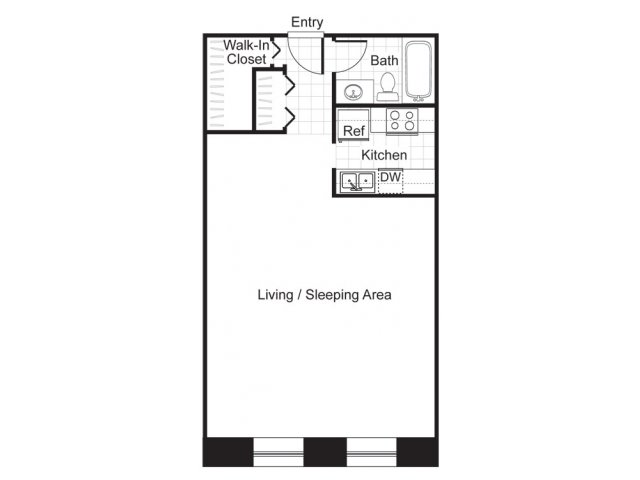 Studio one bathroom floor plan at Baker Chocolate Factory Apartments in Dorchester, MA