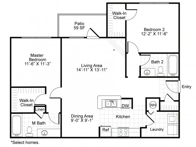 Two bedroom two bathroom B2 floor plan at Brisa at Shadowlake Apartments in Houston, TX