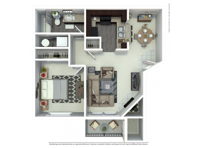 1 bedroom 1 bath A1 floor plan at Beacon at Center Apartments in Everett, WA