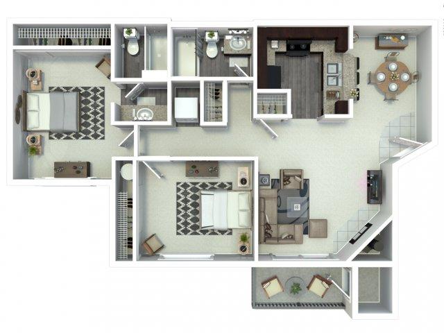 2 bedroom 2 bath B2 floor plan at Beacon at Center Apartments in Everett, WA