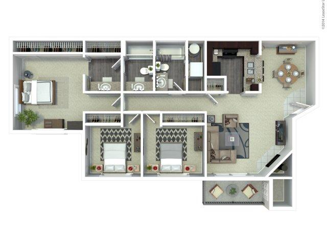 3 bedroom 2 bath C1 floor plan at Beacon at Center Apartments in Everett, WA