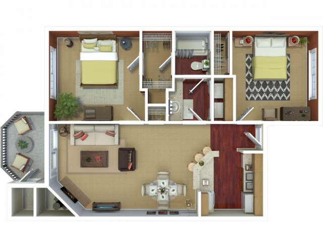 Two bedroom one bathroom B1 floorplan at The Mark on 4th Apartments in Everett, WA