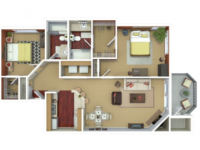 Two bedroom two bathroom B2 floorplan at The Mark on 4th Apartments in Everett, WA