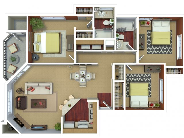Three bedroom two bathroom C2 floorplan at The Mark on 4th Apartments in Everett, WA