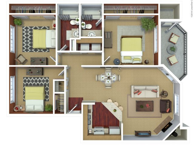 Three bedroom two bathroom C3 floorplan at The Mark on 4th Apartments in Everett, WA