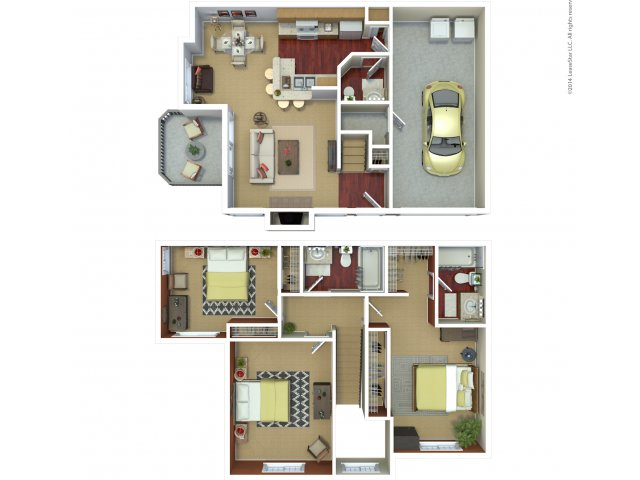 Three bedroom two bathroom C4 floorplan at The Mark on 4th Apartments in Everett, WA