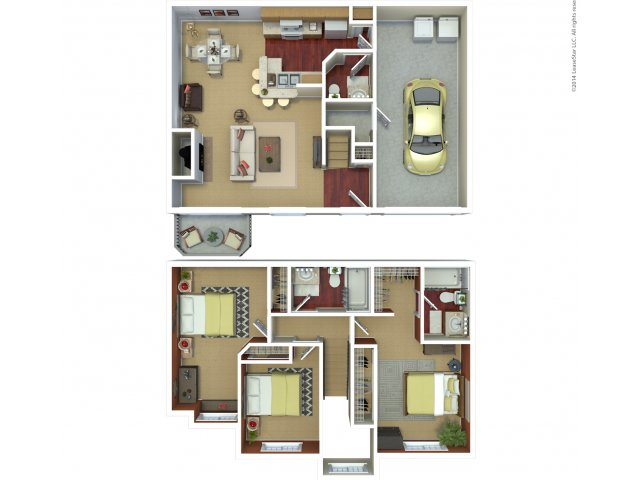 Three bedroom two bathroom C5 floorplan at The Mark on 4th Apartments in Everett, WA
