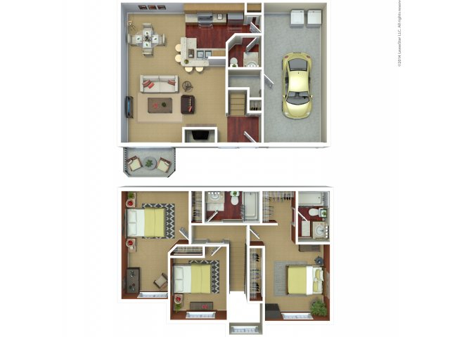 Three bedroom two bathroom C6 floorplan at The Mark on 4th Apartments in Everett, WA