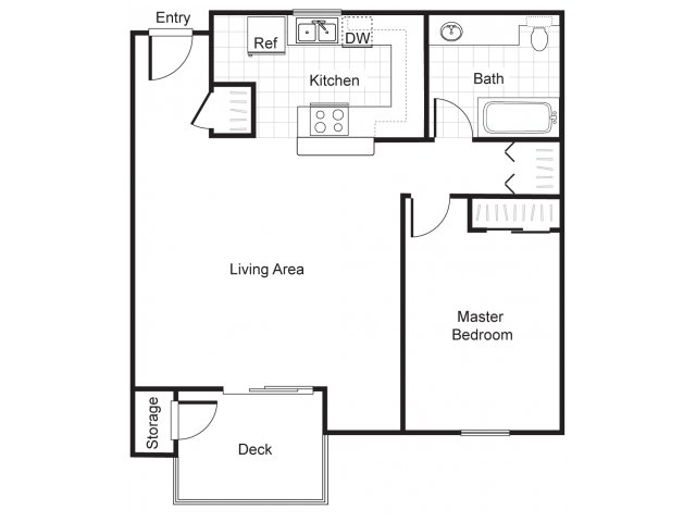 One bedroom one bathroom A2 Floorplan at Newberry Square Apartments in Lynnwood, WA