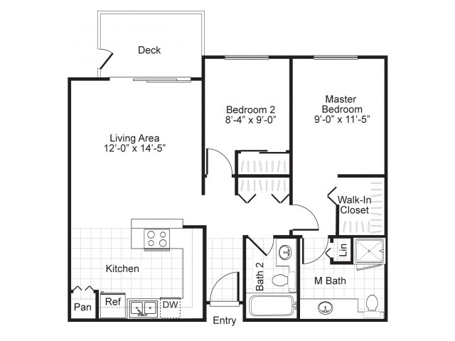 Two bedroom two bathroom B1 Floorplan at Newberry Square Apartments in Lynnwood, WA