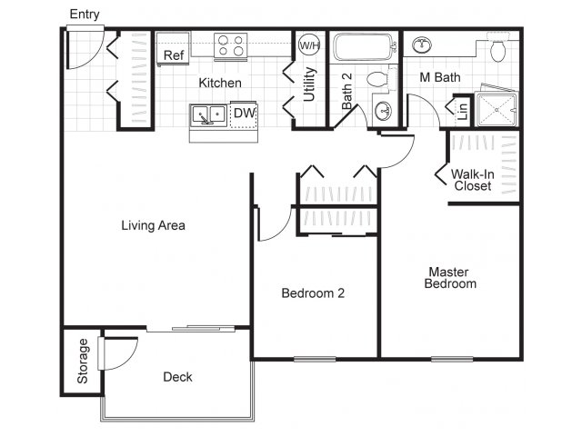 Two bedroom two bathroom B2 Floorplan at Newberry Square Apartments in Lynnwood, WA