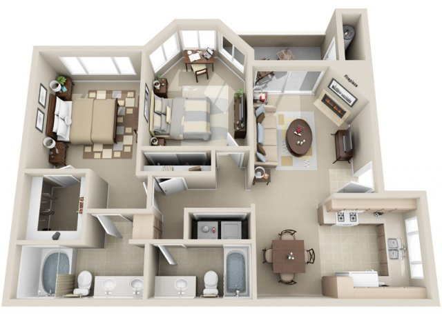 Two bedroom two bathroom B1 Floorplan at Lakeview at Superstition Springs Apartments in Mesa, AZ
