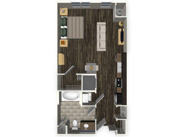 Studio apartment A0 floorplan at Venue Apartments in San Jose, CA