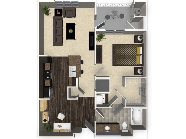 1 bedroom 1 bathroom apartment A2 floorplan at Venue Apartments in San Jose   CA. Studio  1  2  and 3 bedroom apartments in San Jose  CA   Venue