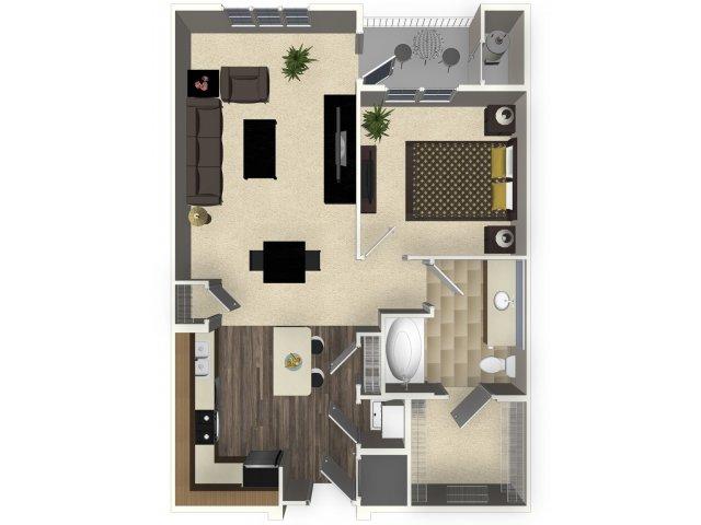 1 bedroom 1 bathroom apartment A1L floorplan at Venue Apartments in San Jose, CA
