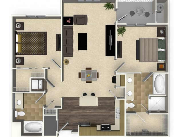 2 bedroom 2 bathroom apartment B3A floorplan at Venue Apartments in San Jose, CA