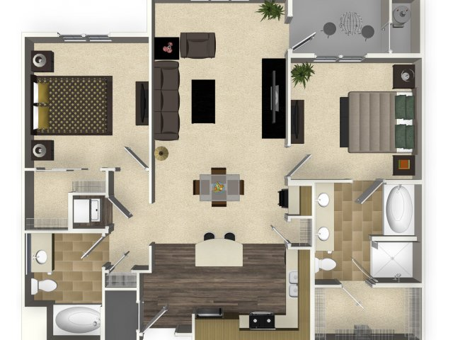 2 bedroom 2 bathroom apartment B3L floorplan at Venue Apartments in San Jose   CA. Studio  1  2  and 3 bedroom apartments in San Jose  CA   Venue