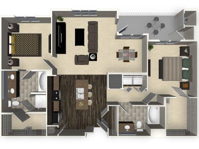 2 bedroom 2 bathroom apartment B4L floorplan at Venue Apartments in San Jose, CA