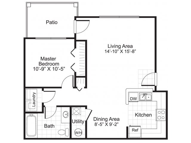 1 bedroom 1 bathroom A1 floor plan at Ardenne Apartments in Lafayette, CO located near Boulder, CO