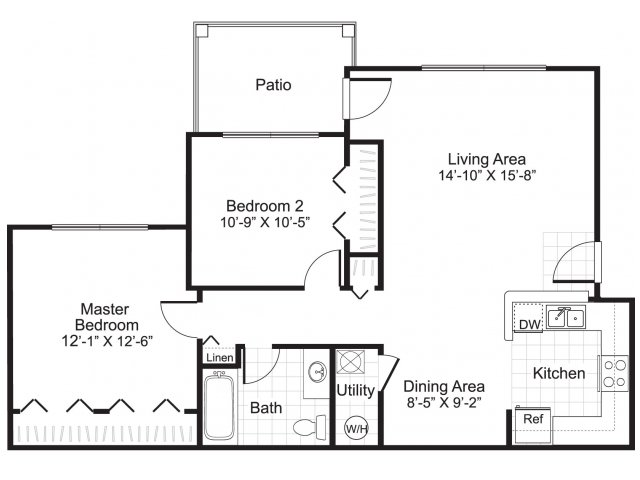 2 bedroom 1 bathroom B1 floor plan at Ardenne Apartments in Lafayette, CO located near Boulder, CO